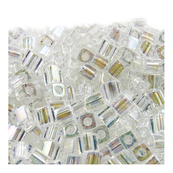 4mm Cube Seed Beads - Crystal AB - 10g