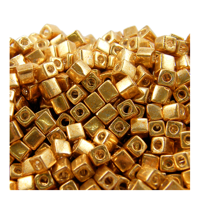 4mm Cube Seed Beads - Galvanized Gold - 10g