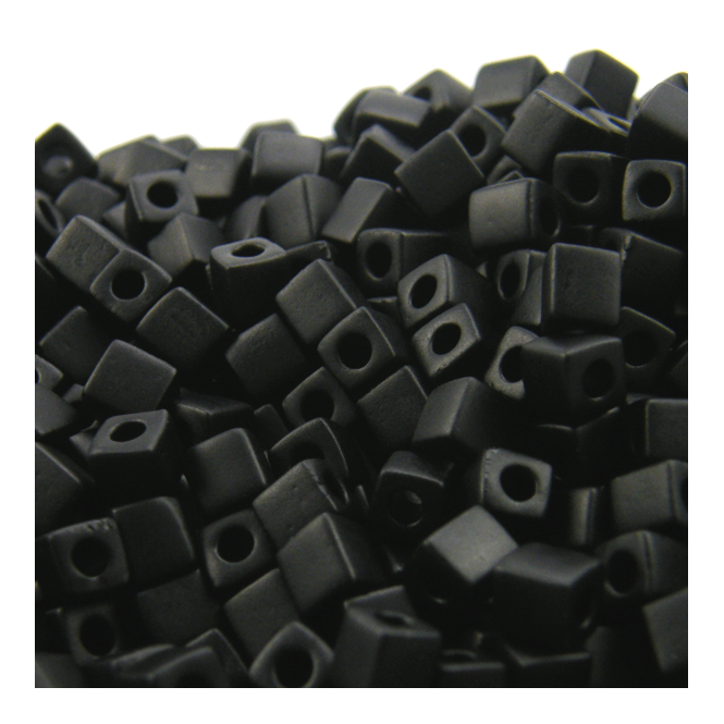 4mm Cube Seed Beads - Matte Opaque Black - 10g