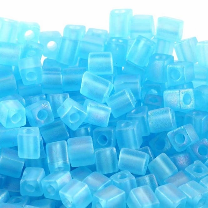 4mm Cube Seed Beads - Matte Transparent Light Blue AB - 10g