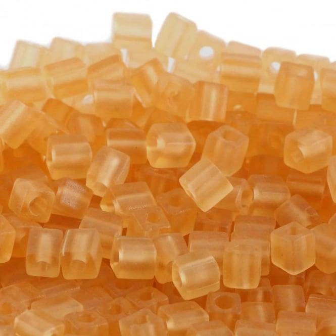 4mm Cube Seed Beads - Matte Transparent Light Topaz - 10g