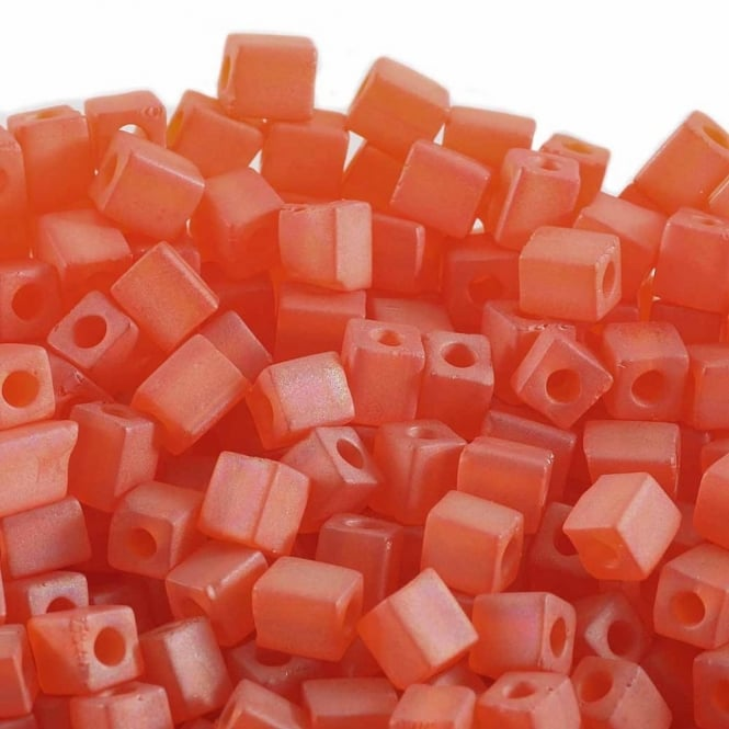 4mm Cube Seed Beads - Matte Transparent Orange AB - 10g