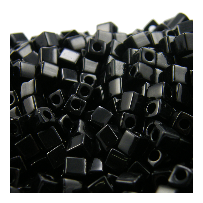 4mm Cube Seed Beads - Opaque Black - 10g