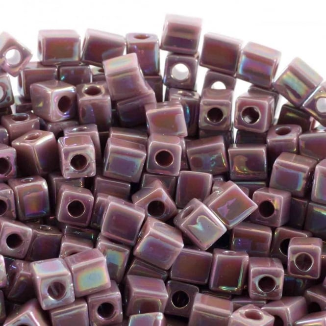 4mm Cube Seed Beads - Opaque Mauve AB - 10g