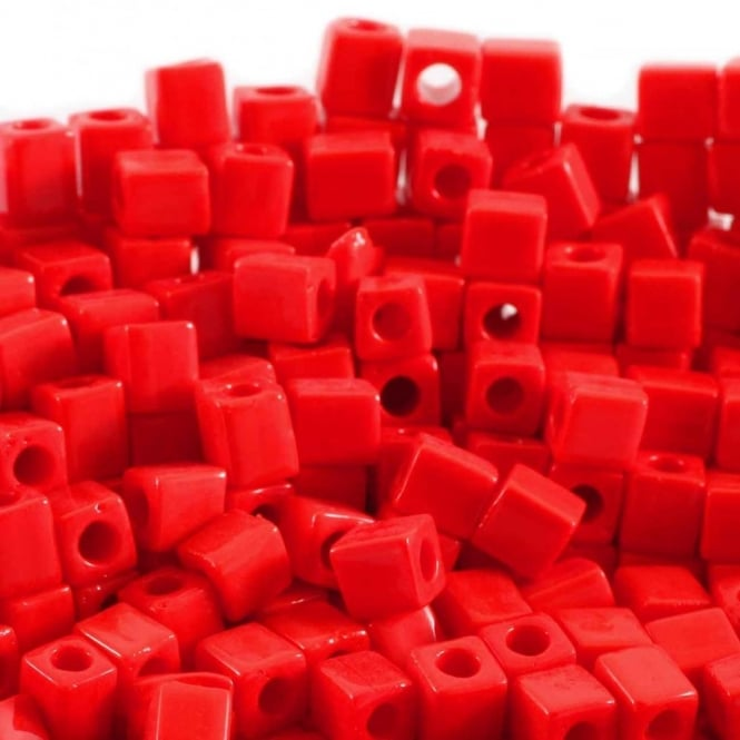 4mm Cube Seed Beads - Opaque Red - 10g