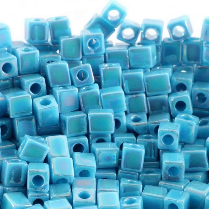 Miyuki 4mm Cube Seed Beads - Opaque Turquoise Blue AB - 10g