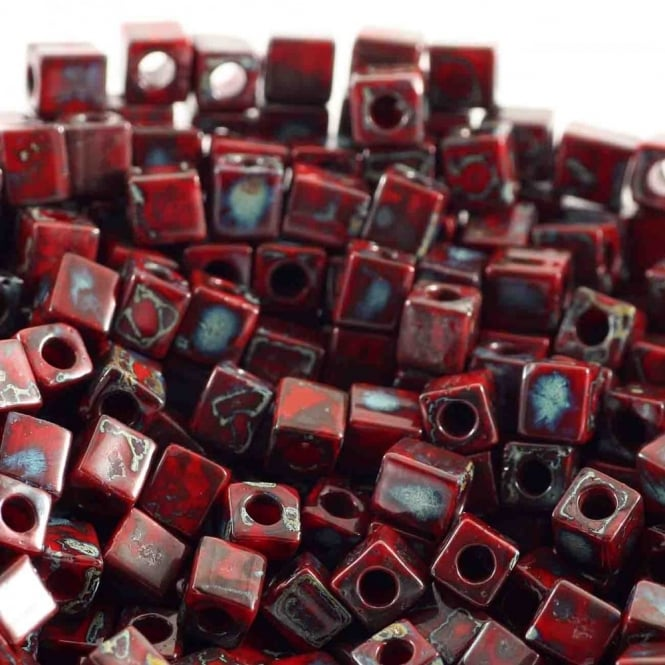 4mm Cube Seed Beads - Picasso Opaque Red Garnet - 10g