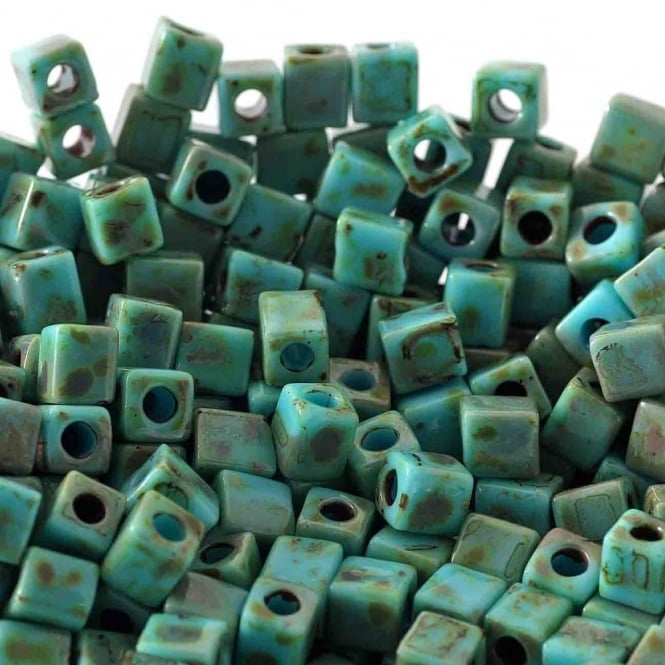 4mm Cube Seed Beads - Picasso Opaque Seafoam Green - 10g