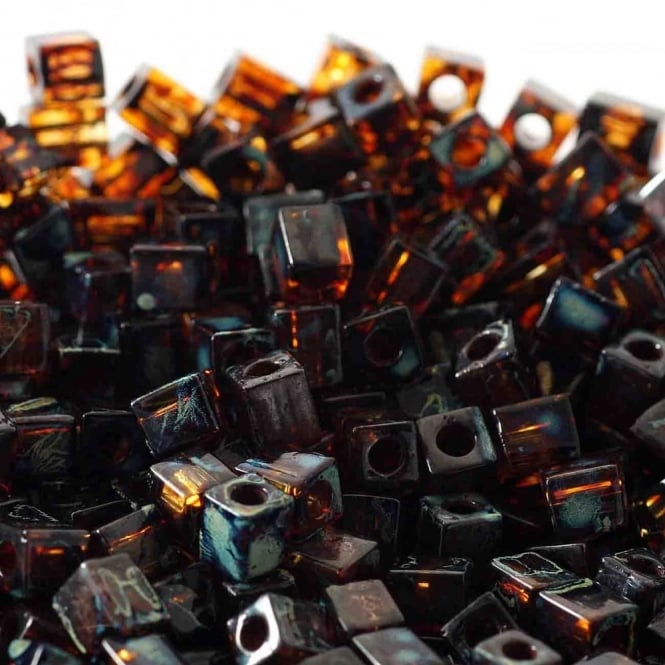 4mm Cube Seed Beads - Picasso Transparent Dark Amber - 10g