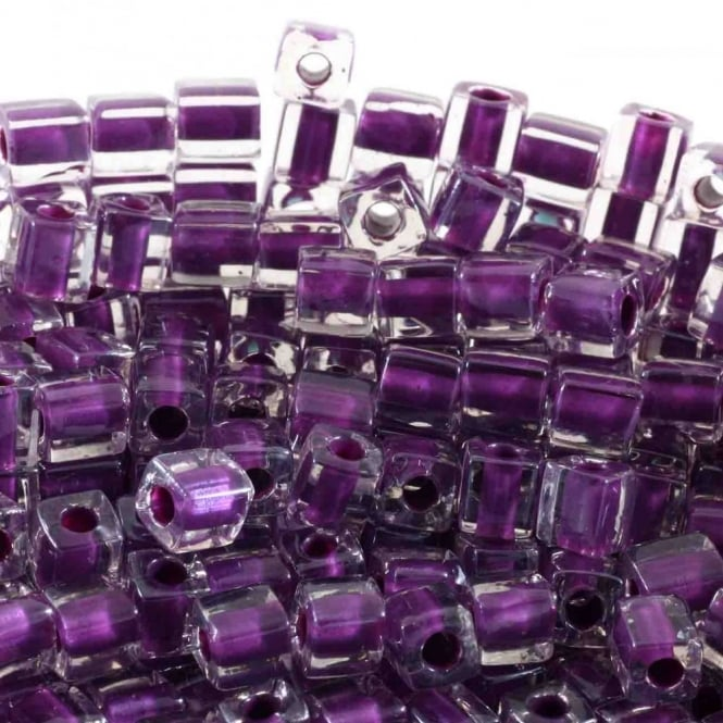4mm Cube Seed Beads - Purple Lined Crystal - 10g