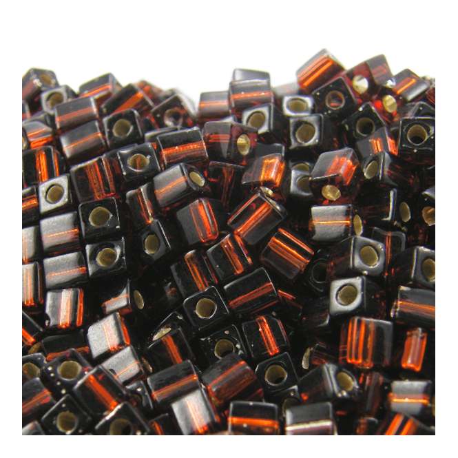 4mm Cube Seed Beads - Silver Lined Brown - 10g