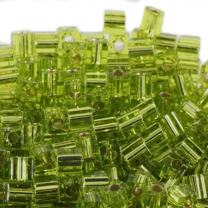 Miyuki 4mm Cube Seed Beads - Silver Lined Chartreuse - 10g