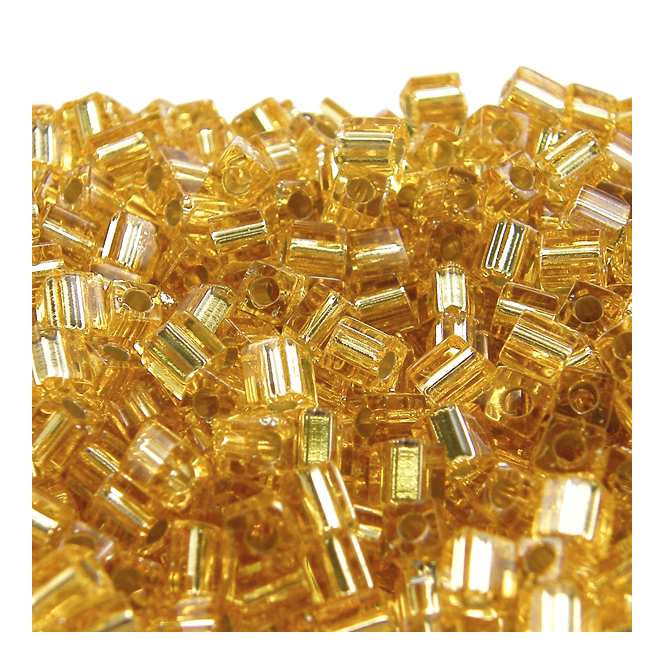 4mm Cube Seed Beads - Silver Lined Gold - 10g