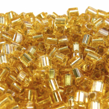 Miyuki 4mm Cube Seed Beads - Silver Lined Gold - 10g