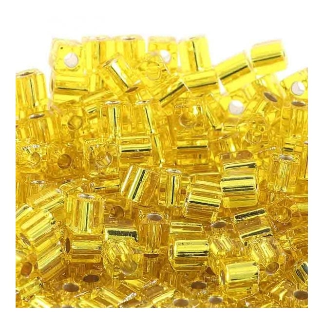 4mm Cube Seed Beads - Silver Lined Yellow - 10g