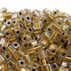Miyuki 4mm Cube Seed Beads - Sparkle Metallic Gold Lined Crystal - 10g