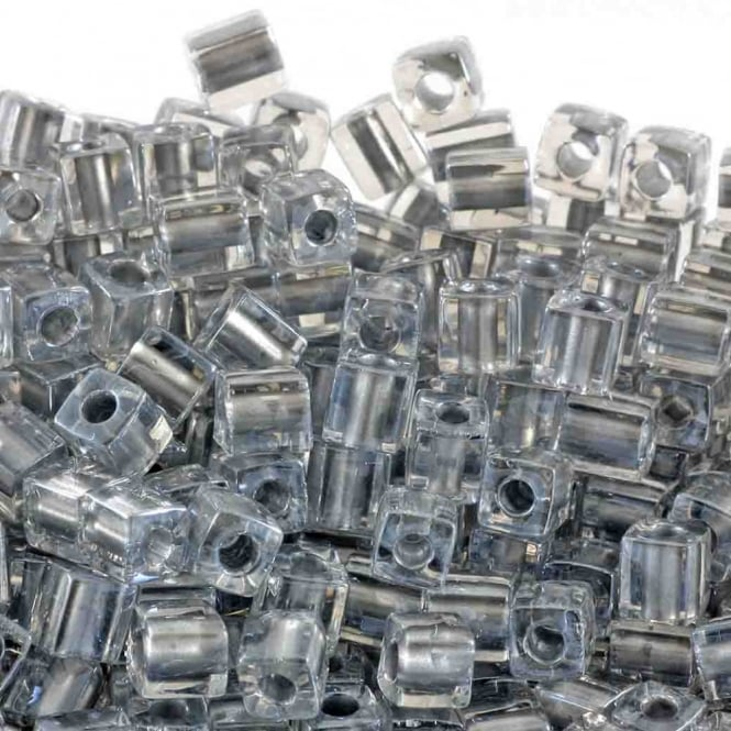 4mm Cube Seed Beads - Sparkling Pewter Lined Crystal - 10g