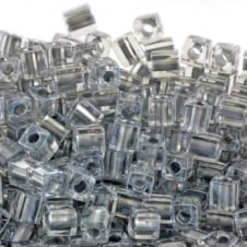 Miyuki 4mm Cube Seed Beads - Sparkling Pewter Lined Crystal - 10g