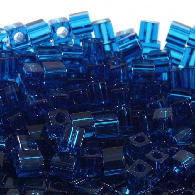 4mm Cube Seed Beads - Transparent Capri Blue - 10g