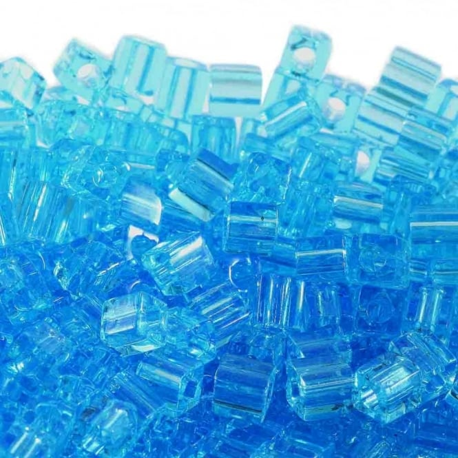 Miyuki 4mm Cube Seed Beads - Transparent Light Blue - 10g