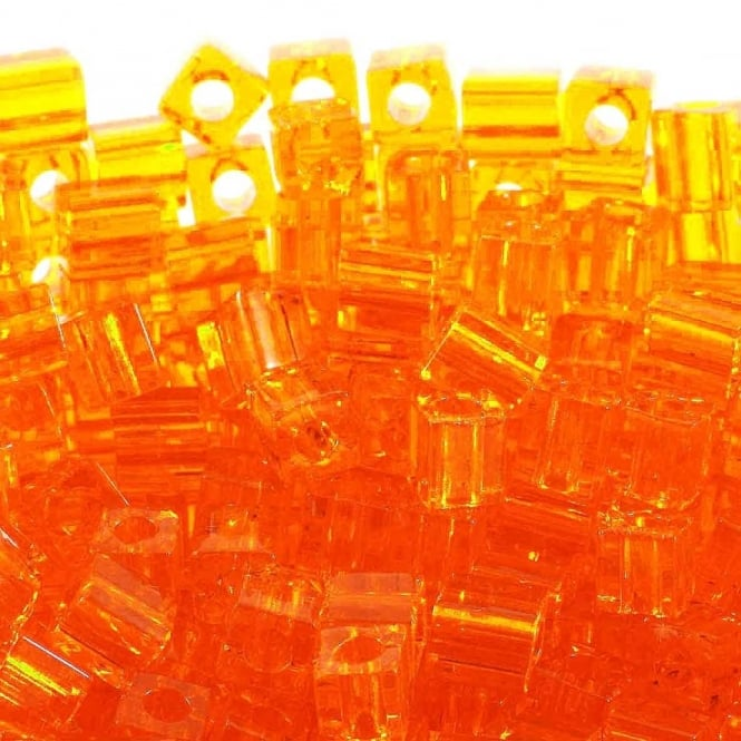 4mm Cube Seed Beads - Transparent Orange - 10g