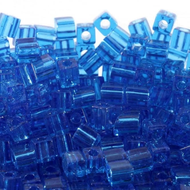 4mm Cube Seed Beads - Transparent Sapphire - 10g