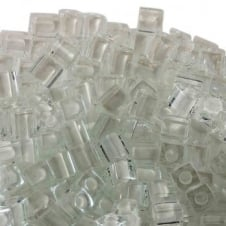 Miyuki 4mm Cube Seed Beads - White Lined Crystal - 10g