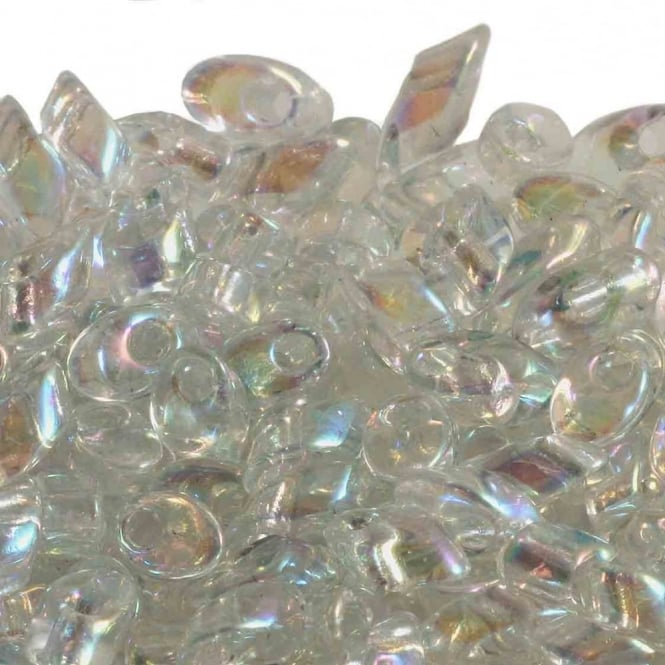 4x7mm Long Magatama Seed Beads - Crystal AB - 10g