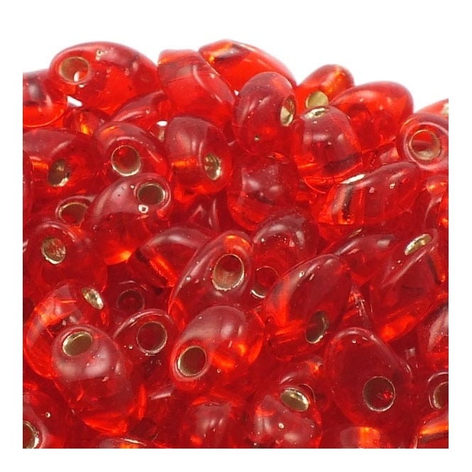 4x7mm Long Magatama Seed Beads - Silver Lined Flame Red - 10g