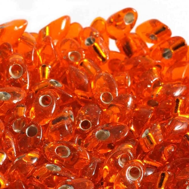 4x7mm Long Magatama Seed Beads - Silver Lined Orange - 10g