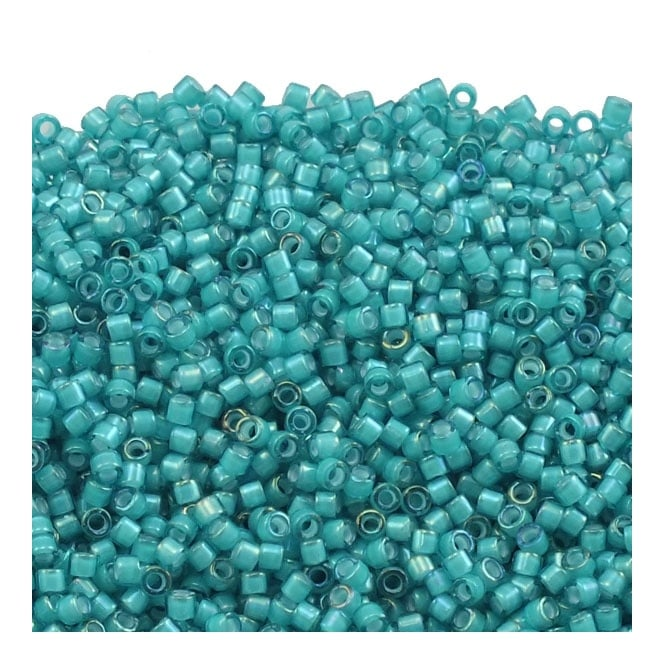 11/0 Delica Seed Bead - White Lined Teal (DB1782) - 5g