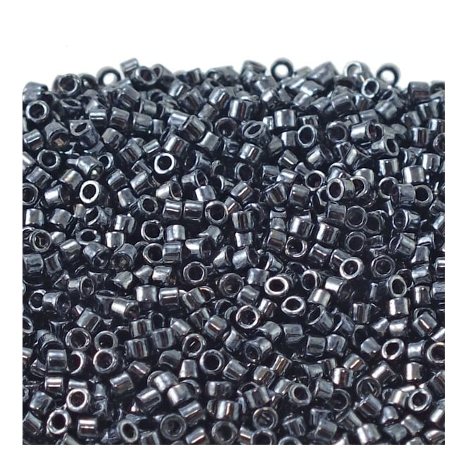 11/0 Delica Seed Beads - Gunmetal (DB001) - 5g