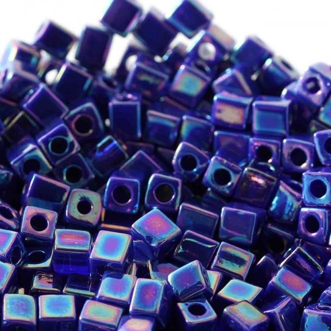 4mm Cube Seed Beads - Opaque Cobalt AB - 10g