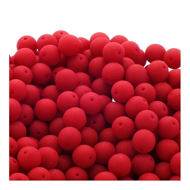 Neon Beads Round Czech Glass 4mm - Red - 50pk