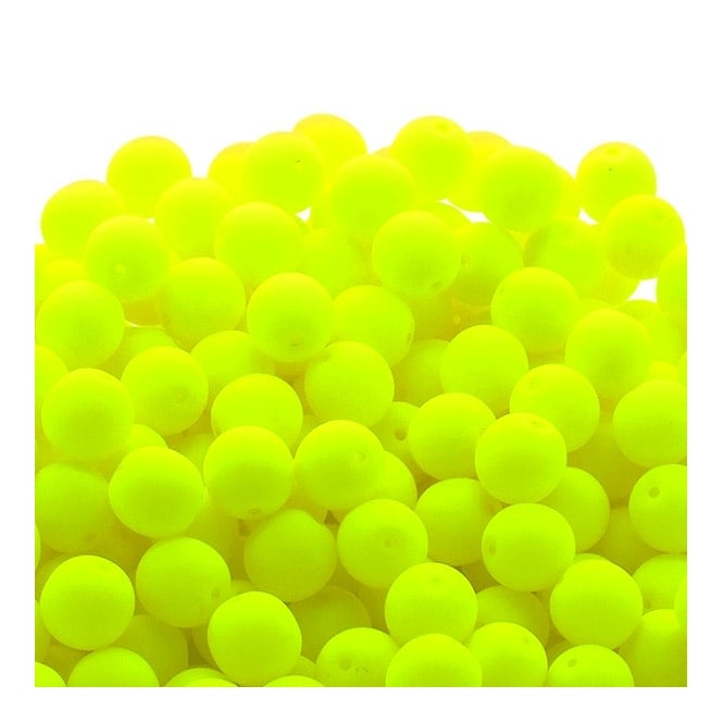 Neon Beads Round Czech Glass 6mm - Yellow - 25pk