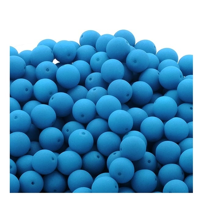 Neon Beads Round Czech Glass 8mm - Blue - 20pk