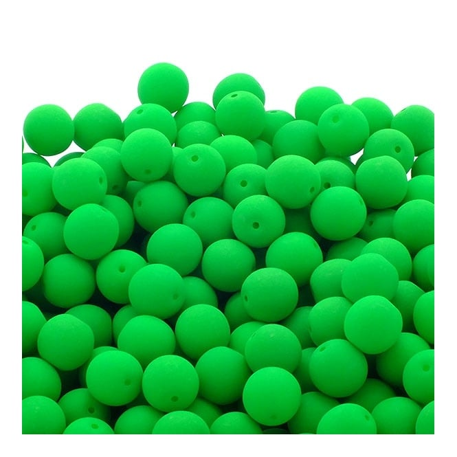 Neon Beads Round Czech Glass 8mm - Green - 20pk
