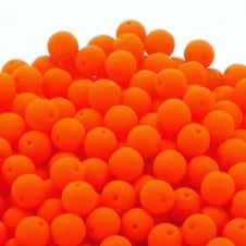 Neon Beads Round Czech Glass 8mm - Orange - 20pk