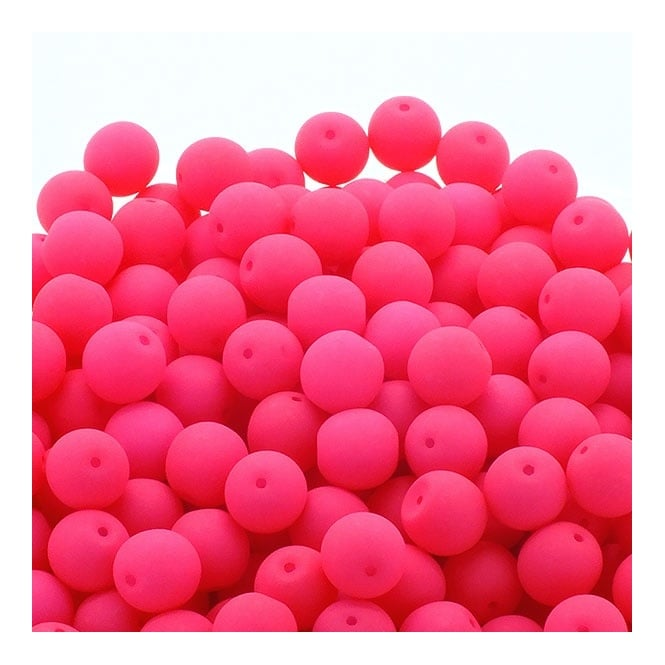 Neon Beads Round Czech Glass 8mm - Pink - 20pk