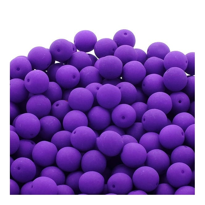Neon Beads Round Czech Glass 8mm - Purple - 20pk
