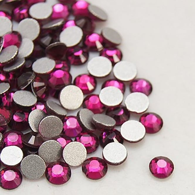 Non-Hot Fix 4mm (SS16) Flatback Rhinestones - Fuchsia - 100pcs