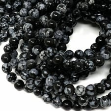 Obsidian Snowflake Round Gemstone Beads 6mm - 15