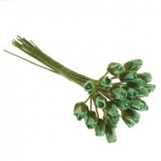 Paper Flowers Mini Rose Buds - Turquoise - 24pk