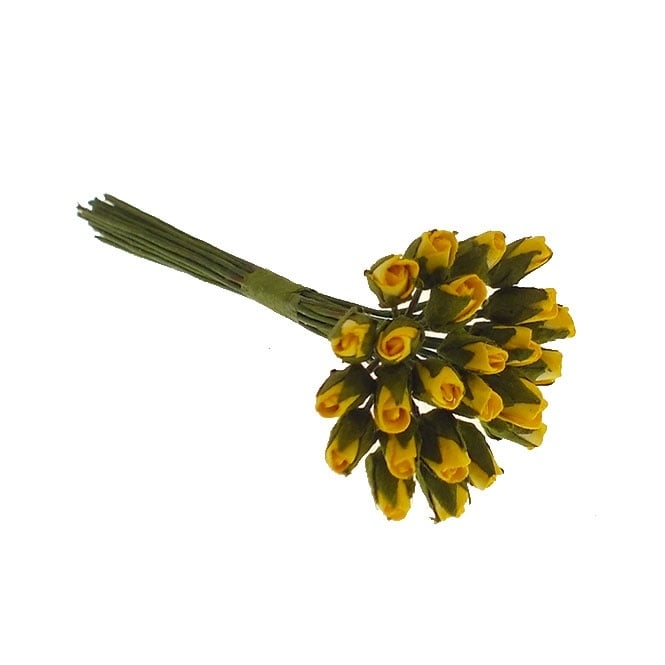Paper Flowers Mini Rose Buds - Yellow - 24pk