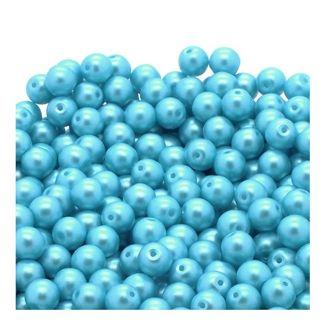 Pastel Beads Round Czech Glass 4mm - Aqua - 50pk