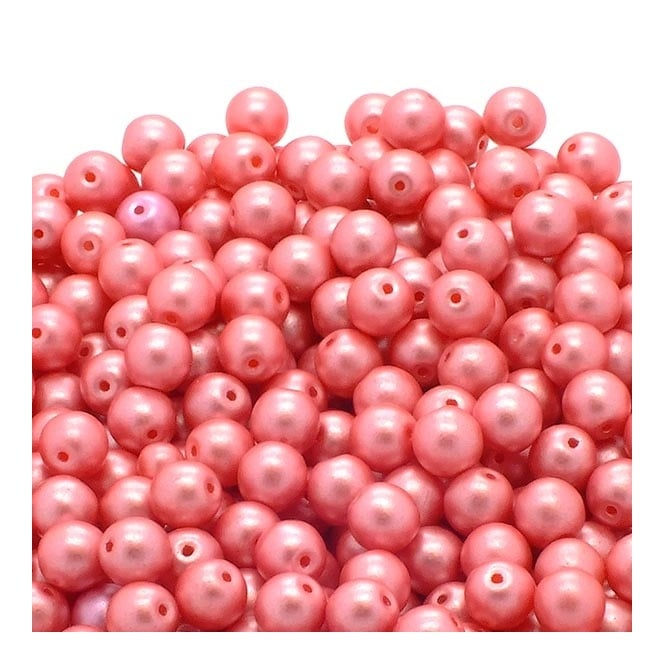 Pastel Beads Round Czech Glass 4mm - Light Coral - 50pk