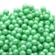 Pastel Beads Round Czech Glass 4mm - Light Green - 50pk