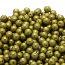 Pastel Beads Round Czech Glass 4mm - Lime - 50pk