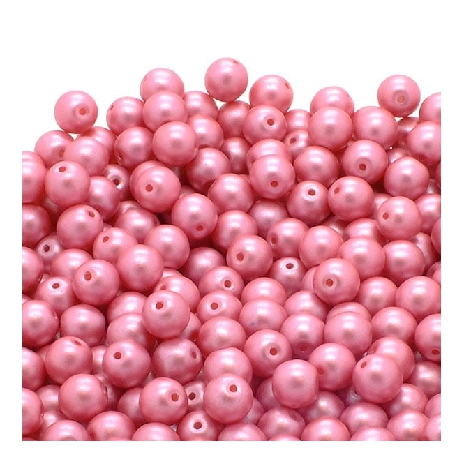 Pastel Beads Round Czech Glass 4mm - Pink - 50pk