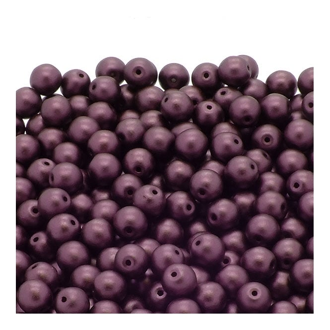Pastel Beads Round Czech Glass 6mm - Bordeaux - 25pk